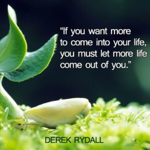 quote - you must let more life come out of you - derek rydall